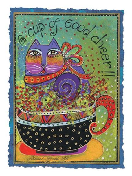 "Laurel Burch Card Get Well ""cup of Good Cheer"" - GWG13258"