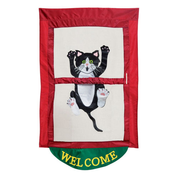 Welcome Cat Come Hang Out House Flag 03649