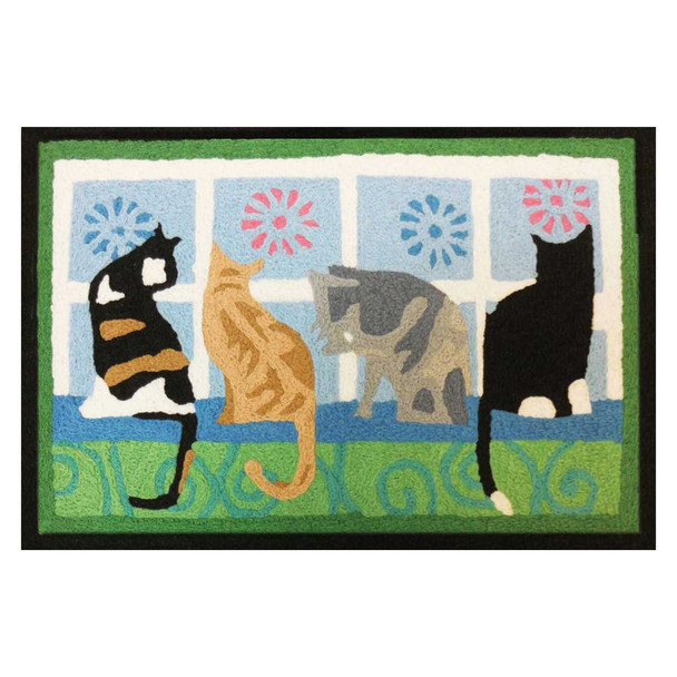 Four Window Cats Rug Indoor Outdoor Washable JB-STS012