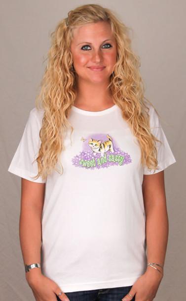 "Cat Pajamas ""Sweet & Sassy""  Scoop Tee Shirt - Ladies - Size Small - JCU223D"