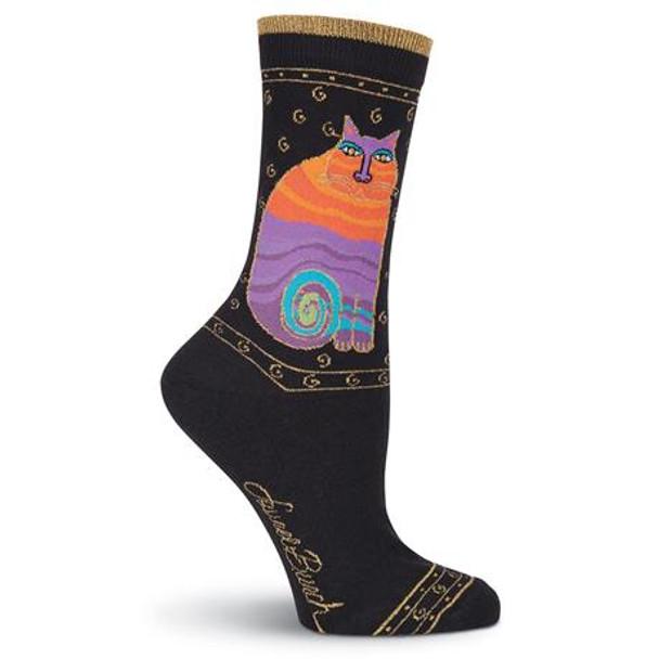 "Laurel Burch Socks  ""Rainbow Cats""   BLACK -  LB1033"