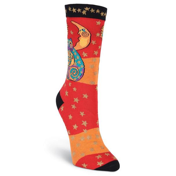 "Laurel Burch Socks ""Celestial Cat"" Orange"