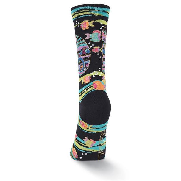 "Laurel Burch Socks ""Cat with Fish"" Black -  LB1098B"