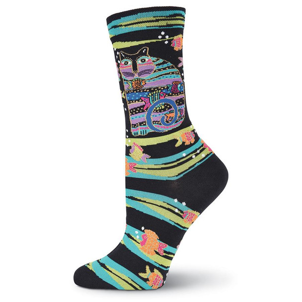 "Laurel Burch Socks ""Cat with Fish"" Black -  LB1098B"