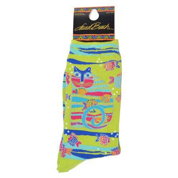 "Laurel Burch Socks ""Cat with Fish"" Lime - LB1098L"