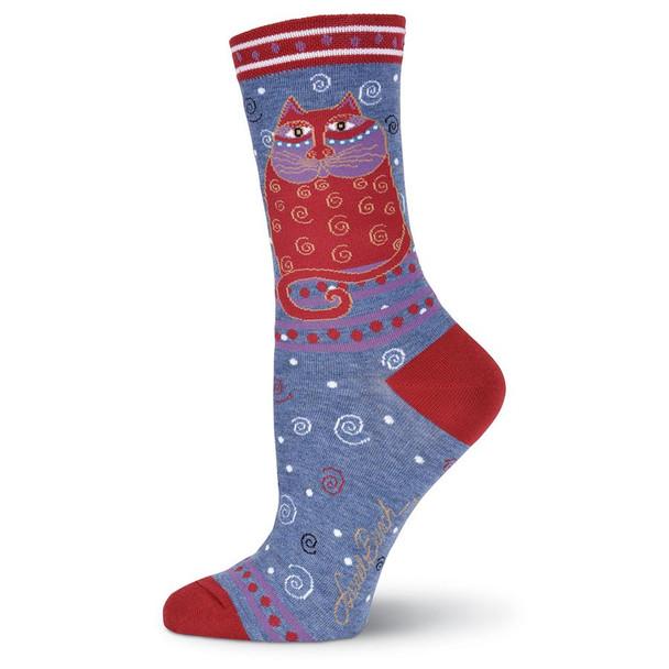 "Laurel Burch Socks ""Crimson Cat"" Denim- LB1104D"