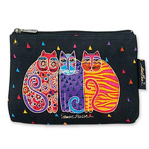 """Laurel Burch Cotton Canvas Cosmetic Bag """"Feline Friends"""" - LB2090A"""