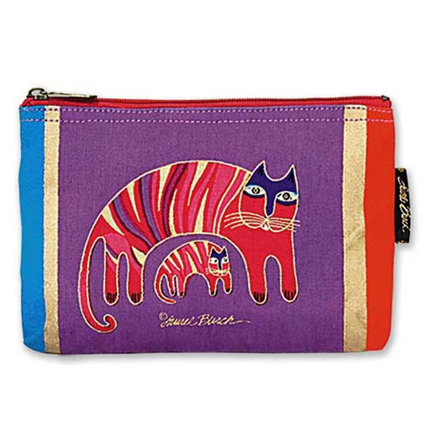 "Laurel Burch Cotton Canvas Cosmetic Bag ""Jio's Cat"" - LB2090D"