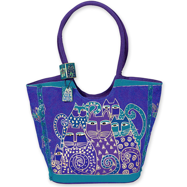 "Laurel Burch ""Indigo Cats"" Large Scoop Bag / Purse - LB412"