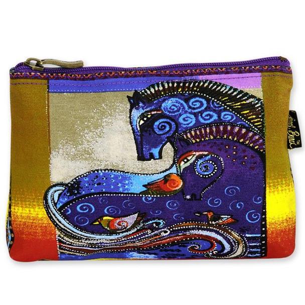 Laurel Burch Cotton Canvas Cosmetic Bag Aquatic Mares - LB4890B