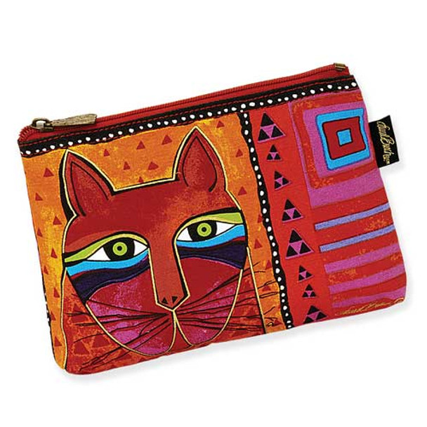 Laurel Burch Whiskered Cats Cosmetic Bags Red Orange LB5321A
