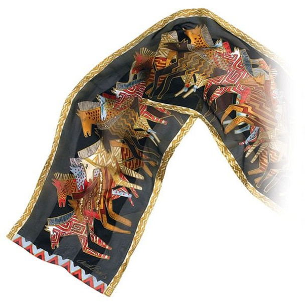 "Laurel Burch Silk Scarf   ""Native Horses"" Black with Sequins - LBS141B"