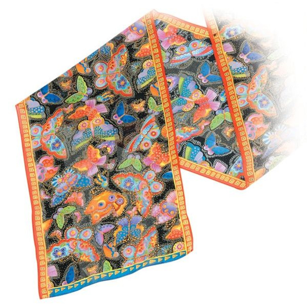 "Laurel Burch Silk Scarf   ""Mariposa"" - Butterfly with Sequins - Black - LBS150B"