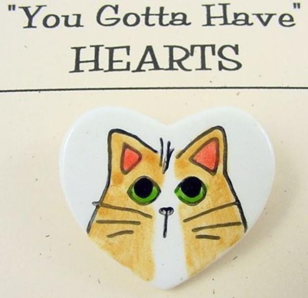 Cat Heart-Shaped Clay Art Pin Yellow Cat - P214