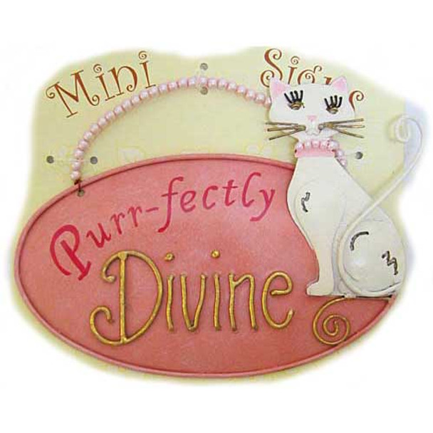 """Cat Sign Metal Art with Beads """"Purr-fectly Divine"""" - S659"""