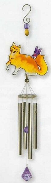 Cat Art Glass Windchimes Orange Cat - WCSSM010