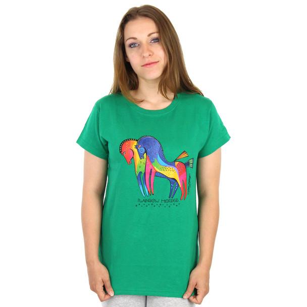"Laurel Burch Tee Shirt ""Rainbow Horses"" LBT024"