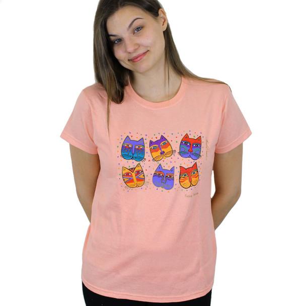 "Laurel Burch Tee Shirt ""Feline Faces"" LBT019"