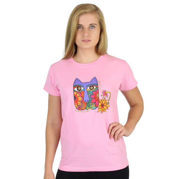 "Laurel Burch Tee Shirt ""Blossoming Feline"" LBT017"