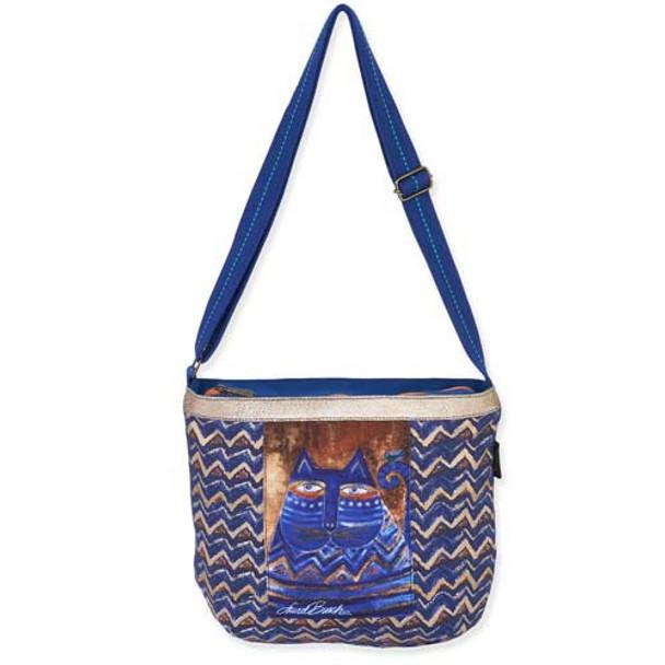 Laurel Burch Zig Zag Blue Azul Crossbody Tote Bag