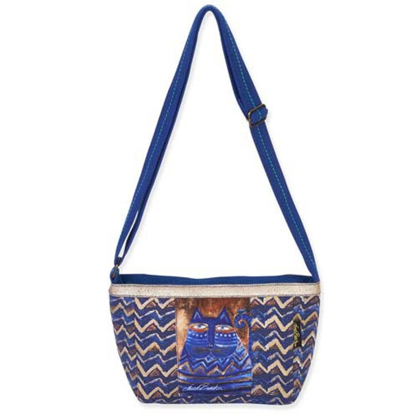 Laurel Burch Blue Azul Cat Small Crossbody Tote Handbag