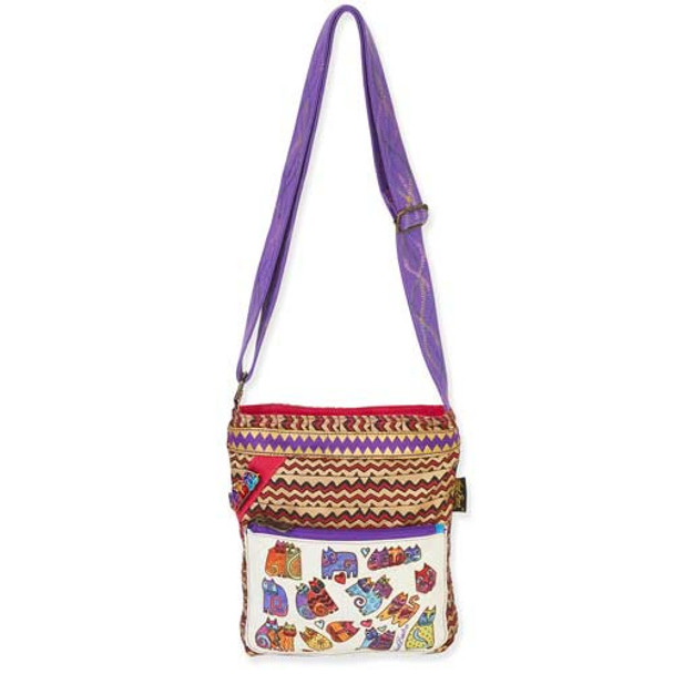 Laurel Burch Karlys Colorful ZigZag Cats Crossbody Tote