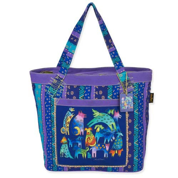 Laurel Burch Mythical Dogs Large Shoulder Tote Bag