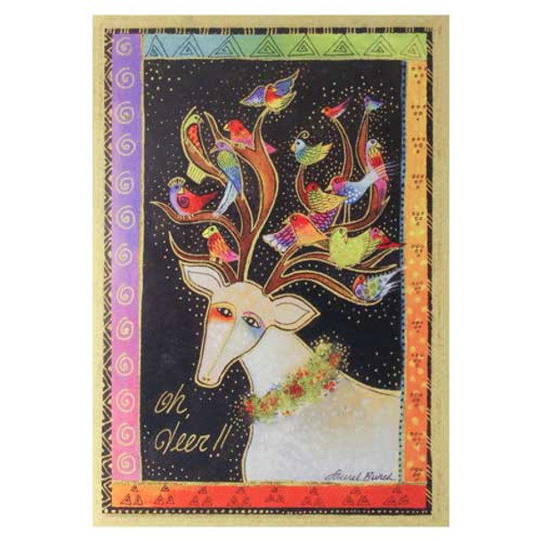 Laurel Burch Special Friends Reindeer Birds Holiday Greeting Card 72660Pk
