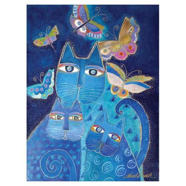 Laurel Burch Canvas Indigo Cat 12x16 Wall Art LB26003