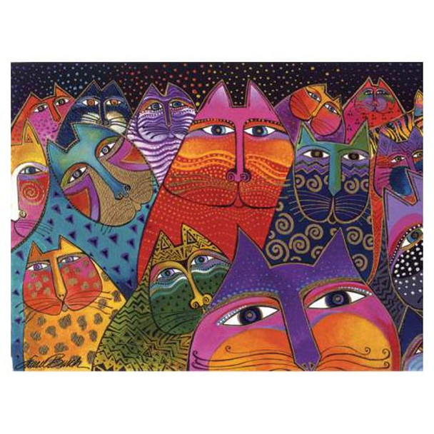 Laurel Burch Canvas Fantasticats Cat 12x16 Wall Art LB26001
