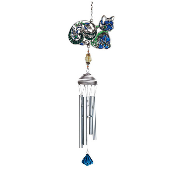 Colorful Blue Cat Art Windchimes - 15526BL