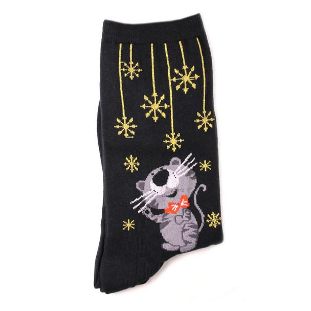 Shimmery Snowflake Cats Socks - Black- 14072