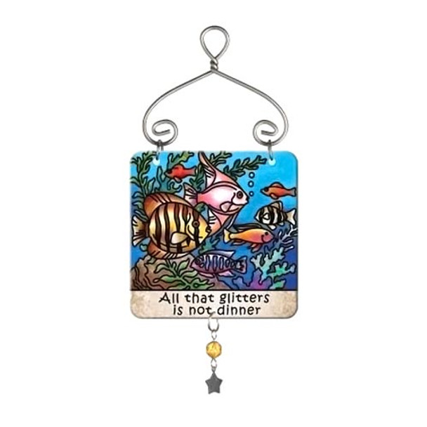 Cat Tropical Fish Dinner Mini Sun Catcher Sign - JSW232