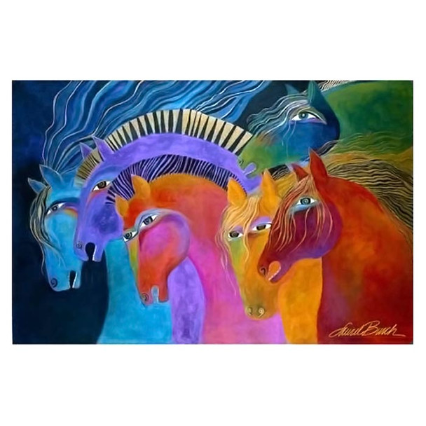 Laurel Burch Canvas Wild Fire Horses 12x19 Wall Art LB26028