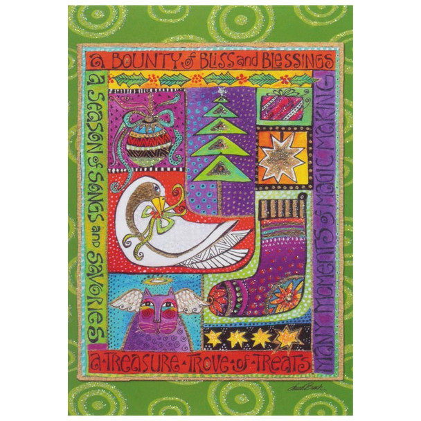 Laurel Burch Christmas Card Festive Holiday Season 10 Card Box C73761