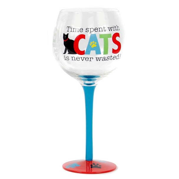 Cat Sayings Time Wine Glass 40174-T