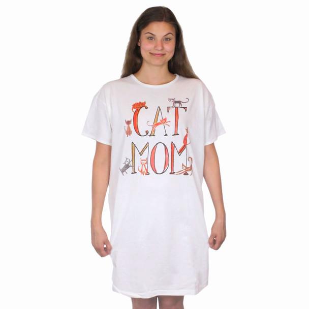Cat Mom Theme Sleep Shirt Pajamas - 708OT