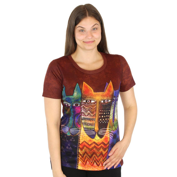 Laurel Burch Tee Shirt Long Neck Felines LBT035
