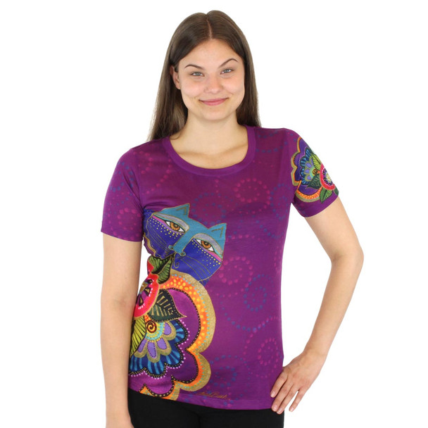 Laurel Burch Tee Shirt Carlottas Cat LBT031