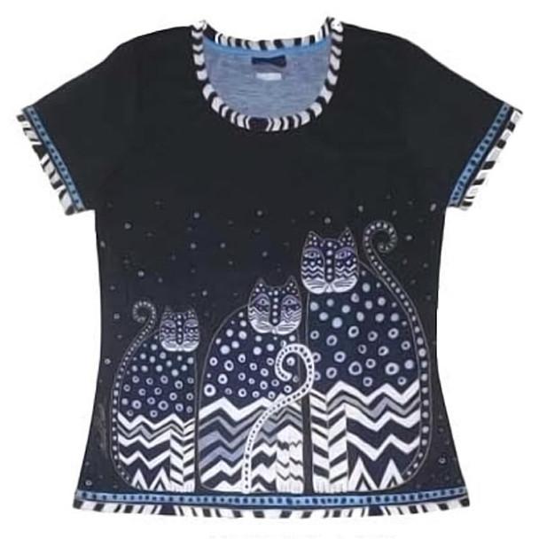 Laurel Burch Tee Shirt Polka Dot Gatos LBT037