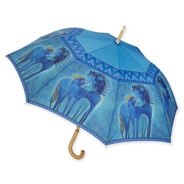 Laurel Burch Stick Umbrella Blue Horse LBU0010S