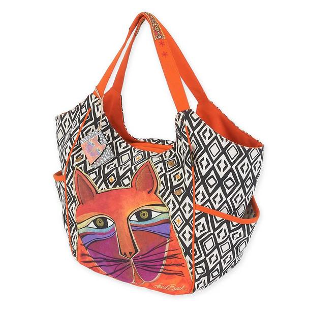 Laurel Burch Whiskered Cats Orange Scoop Tote Bag LB5630C