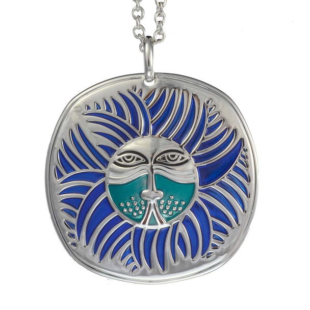 Soliel Lion Laurel Burch Necklace Blue 5000