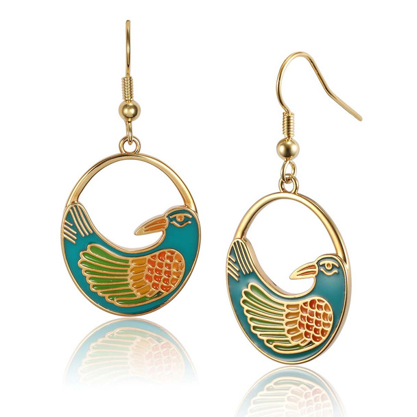 Nile Bird Laurel Burch Earrings Turquoise 5008