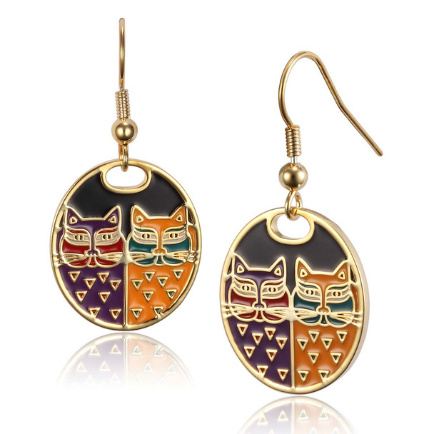Portrait Cats Laurel Burch Earrings Black Multi 5011