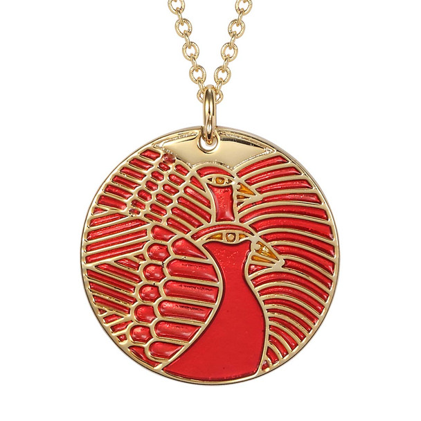 Moon Doves Laurel Burch Necklace Red 5012