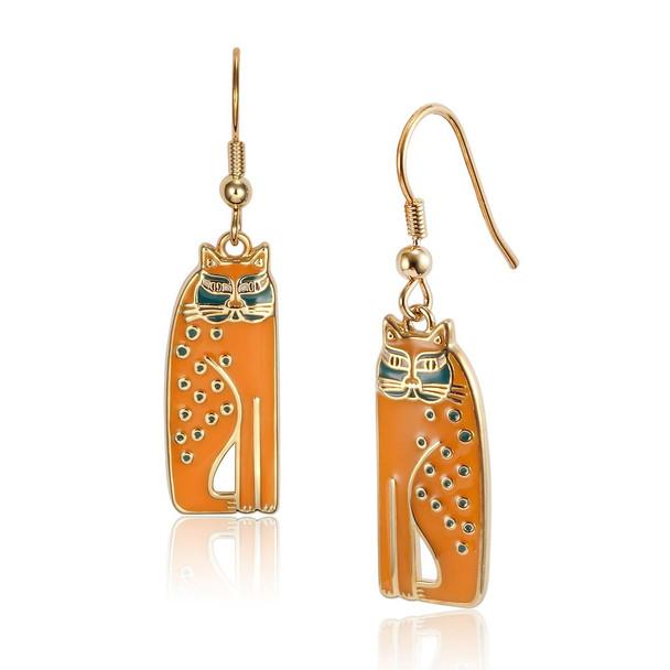 Siamese Cats Laurel Burch Earrings Mustard 5019