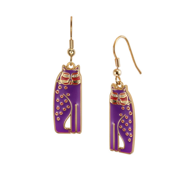 Siamese Cats Laurel Burch Earrings Purple 5020