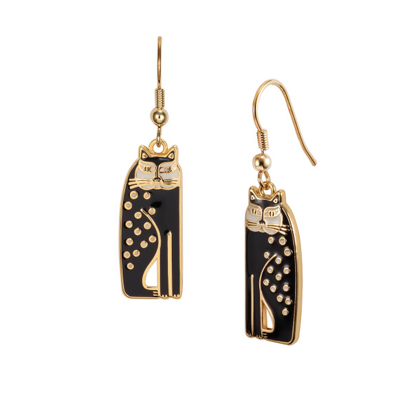 Siamese Cats Laurel Burch Earrings Black-Cream 5021