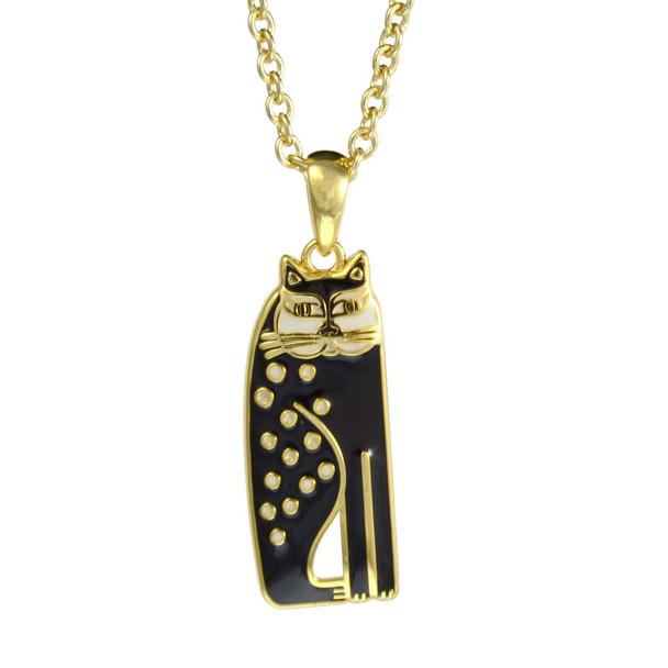 Siamese Cat Laurel Burch Necklace Black-Cream 5025